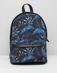 Asos Backpack With Floral Print Black Grey