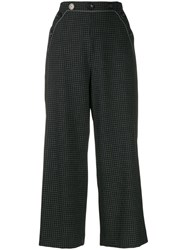 Piazza Sempione Check Cropped Trousers Black