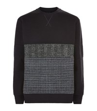 Lanvin Tweed Panel Sweater Male Navy