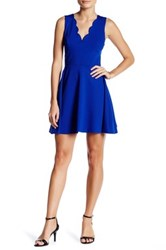 Love Ady Scalloped V Neck Mini Fit And Flare Dress Blue