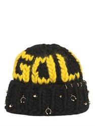 Maria Francesca Pepe Gold Wool Knit Beanie With Piercings