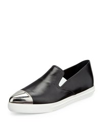 Miu Miu Plated Cap Toe Leather Skate Shoe Nero