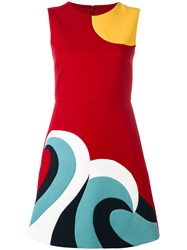 Red Valentino Abstract Shift Dress Women Cotton Polyester Acetate 38 Red