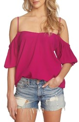 1.State Women's Balloon Sleeve Off The Shoulder Top Tropic Berry