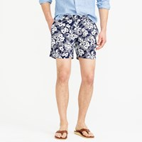J.Crew 6.5' Tab Swim Short In Navy Hawaiian Floral