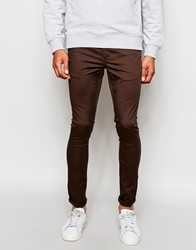 Asos Extreme Super Skinny Chinos In Brown Turkishcoffee