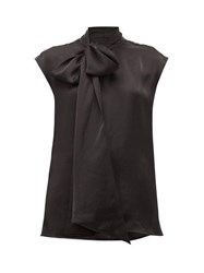 Rochas Pussy Bow Sleeveless Satin Top Black