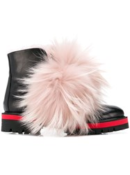 Mr And Mrs Italy Furry Detail Biker Boots Black