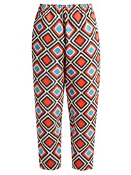 Issey Miyake Herbal Tapered Leg Mosaic Print Trousers Red Multi