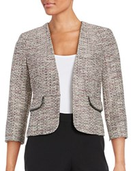 Nipon Boutique Tweed Open Front Blazer Cream