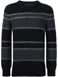 Juun.J Striped Crew Neck Jumper Black