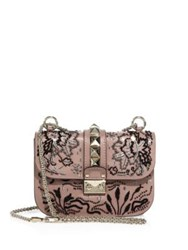 Valentino Lock Small Beaded Leather Shoulder Bag Poudre