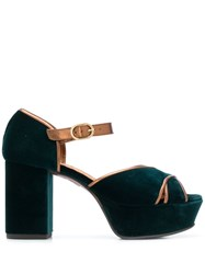 Chie Mihara Two Tone Platform Sandals Green