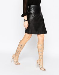 Asos Headquarter Lace Up Heeled Sandals Nude Beige
