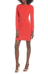 Leith Long Sleeve Body Con Dress Red Chinoise