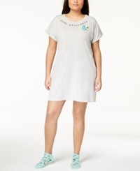 By Jennifer Moore Plus Size Graphic Sleepshirt And Socks Created For Macy's Light Heather