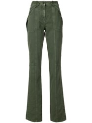 Valentino Layered Flared Trousers Green