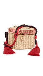 Nannacay Kiki Small Rope Handle Bag Brown Red