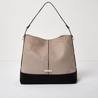 River Island Womens Beige Contrast Panel Slouch Handbag