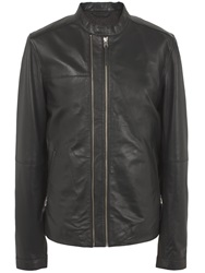 Pretty Green Addison Leather Biker Black