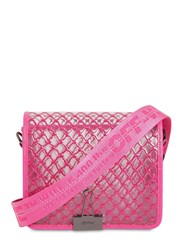 Off White Medium Grid Pvc Shoulder Bag Fuchsia