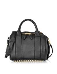 Alexander Wang Rockie Black Pebbled Leather Satchel W Pale Gold Studs