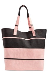 Cesca Colorblock Straw And Cotton Tote Black Black Light Pink