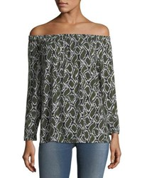 Michael Michael Kors Off The Shoulder Printed Tunic Green Pattern