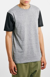 Topman Heathered T Shirt With Faux Leather Sleeves Grey