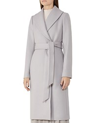 Reiss Cody Belted Long Coat Light Slate