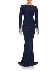 Nicole Bakti Open Back Gown Navy