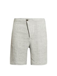Helbers Speckled Washed Linen Shorts Light Grey