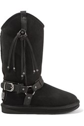 Australia Luxe Collective Harness Embellished Shearling Boots Black