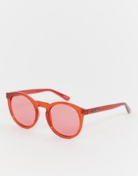 Quay Australia Red Tinted Round Sunglasses Red Red