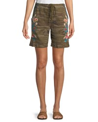 Johnny Was Vernazza Drawstring Embroidered Linen Shorts Petite Camo