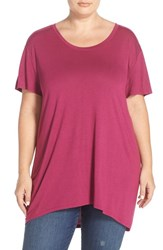 Plus Size Women's Sejour Print High Low Tee Purple Fuchsia