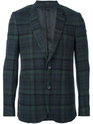 Paul Smith Plaid Single Breasted Blazer Green