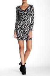 V Neck Pattern Sweater Dress Black