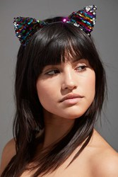 Urban Outfitters Sequin Cat Ear Headband Multi