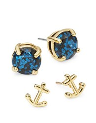 Kate Spade Anchor Two Piece Stud Set Navy