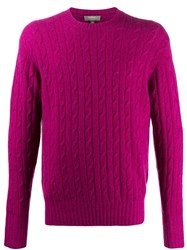 N.Peal The Thames Cable Knit Jumper Pink