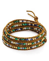 Chan Luu African Turquoise Mix Wrap Bracelet Turquoise Mix Brown