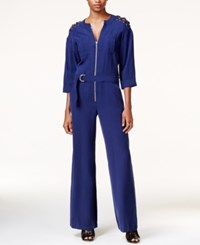 Guess Mathilde Lace Up Utility Jumpsuit Evening Navy