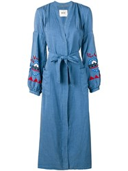 Bazar Deluxe Belted Denim Shirt Dress Blue