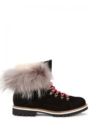Mr And Mrs Italy Fur Trimmed Suede Ankle Boots Black
