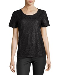 Free Generation Lady Lace Woven Short Sleeve Top Black