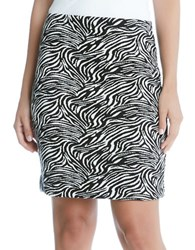 Karen Kane Zebra Printed Pencil Skirt Black White