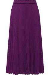 Marc Jacobs Pleated Crepe De Chine Midi Skirt Purple
