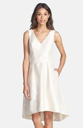 Women's Alfred Sung Satin High Low Fit And Flare Dress Champagne