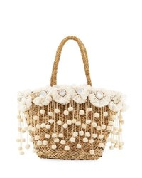 Flora Bella Kailua Straw Beach Tote Bag With Fringe And Pompom Trim Neutral Pattern